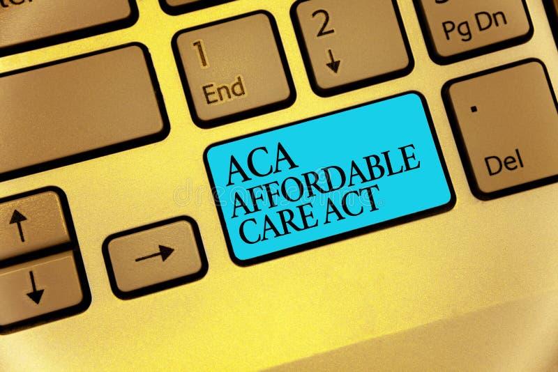 Ato disponível do cuidado do texto ACA da escrita da palavra Conceito do negócio para fornecer o tratamento barato ao paciente az imagens de stock