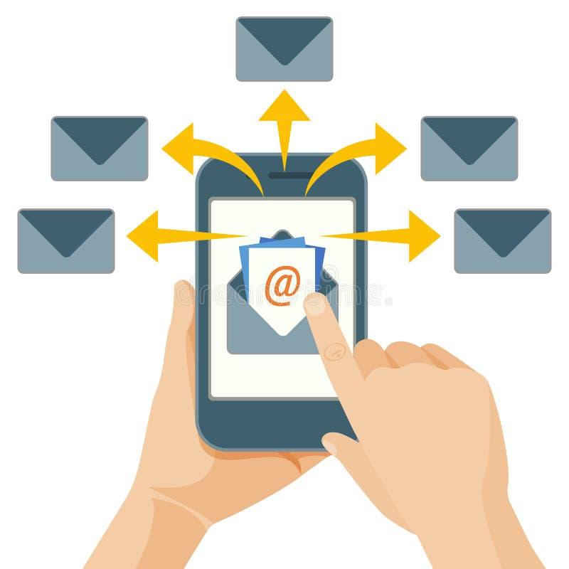 Ato do mercado do email de enviar mensagens comerciais aos povos ilustração stock