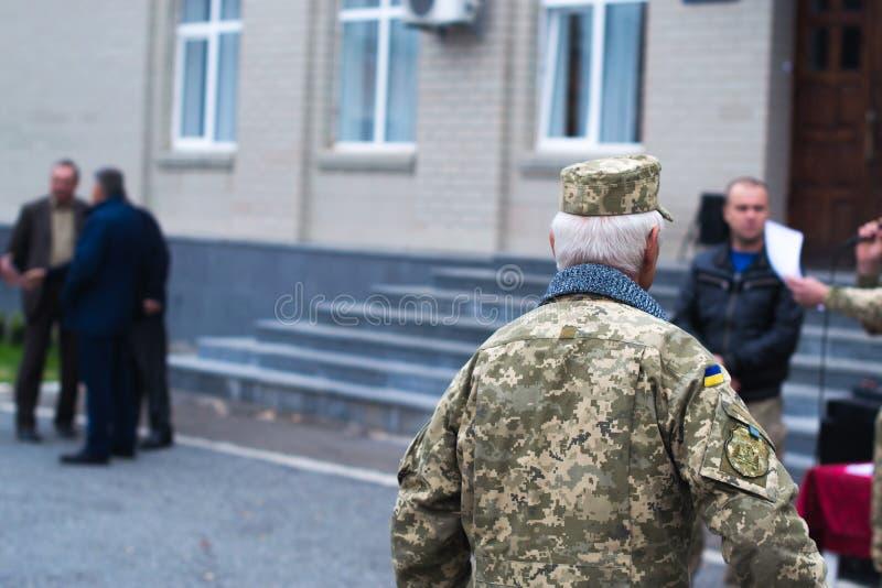 Ato-soldater för protest åtgärdar på Oktober 2, 2017 i Ukraina arkivbild
