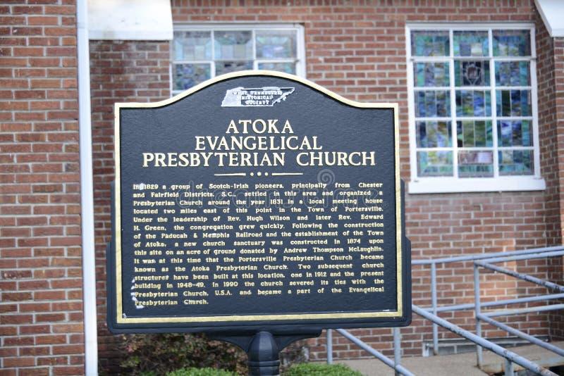 Atoka kościół prezbiteriańskiego Ewangelicki markier, Atoka TN zdjęcia stock