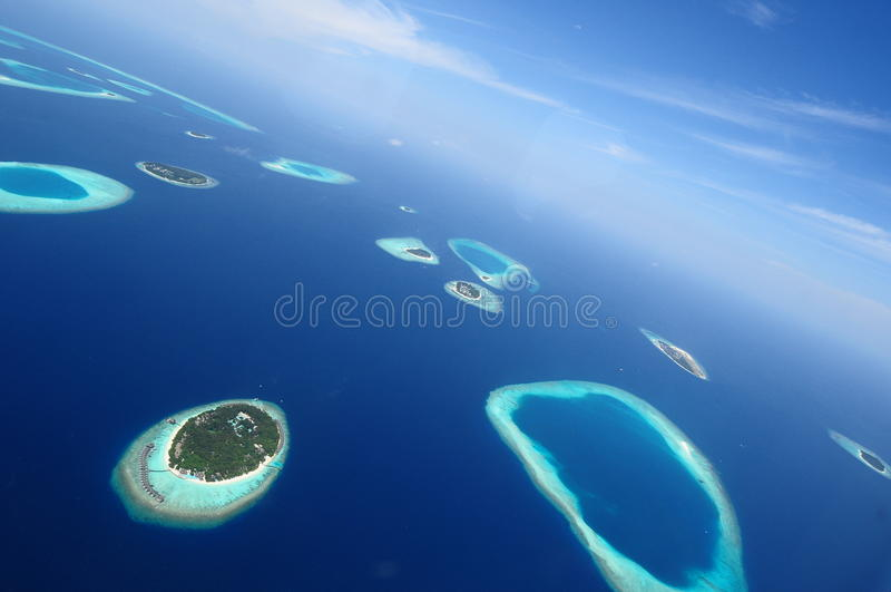 Atol de Addu ou Seenu Atoll, o sul a maioria de atol das ilhas de Maldivas imagem de stock