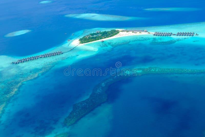 Atol Maldives od niebo widoku zdjęcie stock
