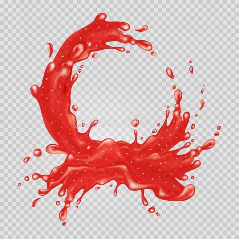 Atolamento de morango Respingo líquido vermelho ilustração royalty free