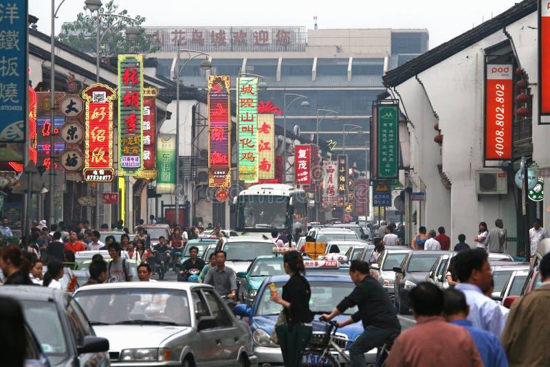 Atolamento do trânsito intenso em Shanghai fotos de stock royalty free