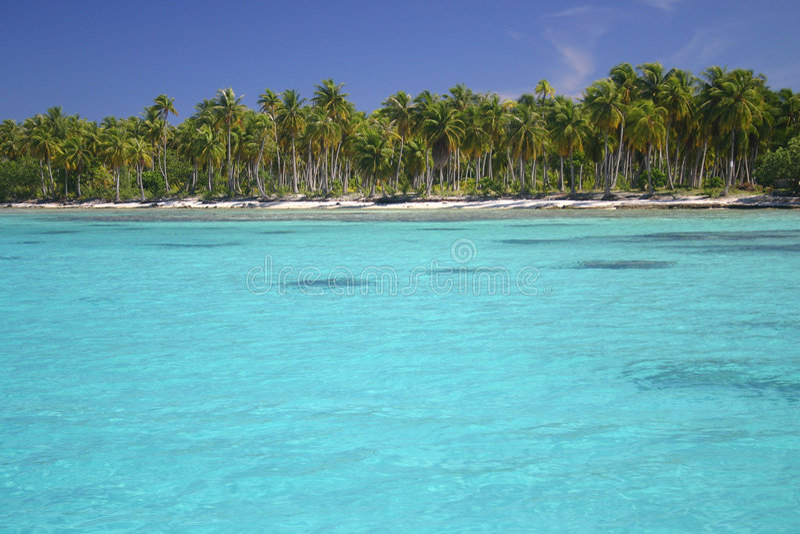 Atoll Rangiroa in French Polynesia. Beautiful sandy beach on famous travel destination Atoll Rangiroa. French Polynesia royalty free stock images