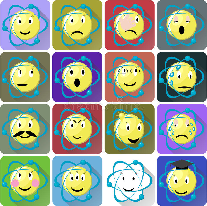 Atomów emoticons ikony ustawiać ilustracja wektor