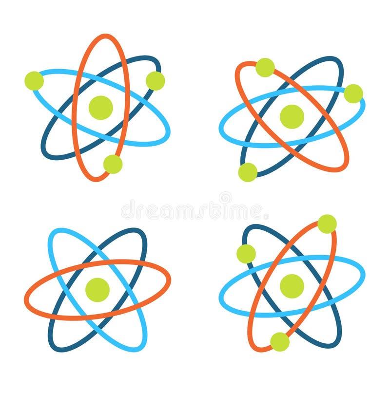 Atomów symbole dla nauki, Kolorowe ikony Odizolowywać na Białym tle ilustracji