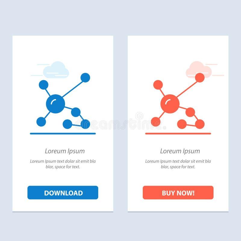 Atom, biochemie, biologia, Dna, Genetyczny sieci Widget karty szablon, Błękitnej, Czerwonej i ściągania i zakupu Teraz ilustracji