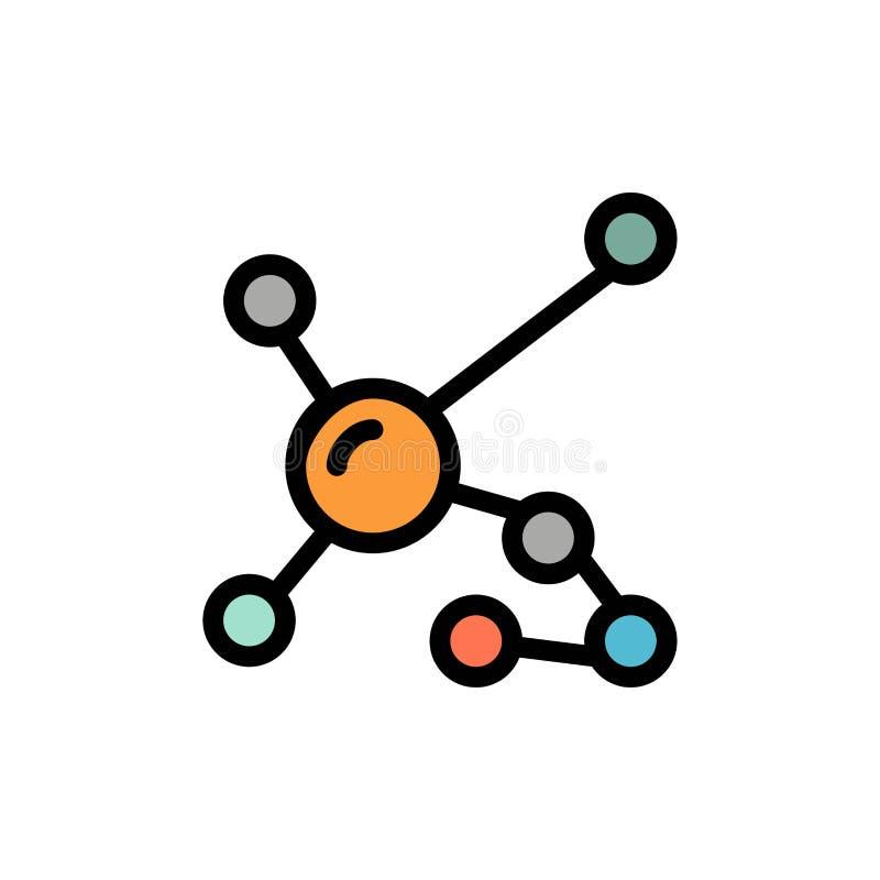 Atom, Biochemie, Biologie, DNA, genetische flache Farbikone Vektorikonen-Fahne Schablone lizenzfreie abbildung