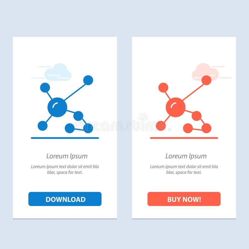 Atom, Biochemie, Biologie, DNA, genetisches blaues und rotes Download und Netz Widget-Karten-Schablone jetzt kaufen stock abbildung