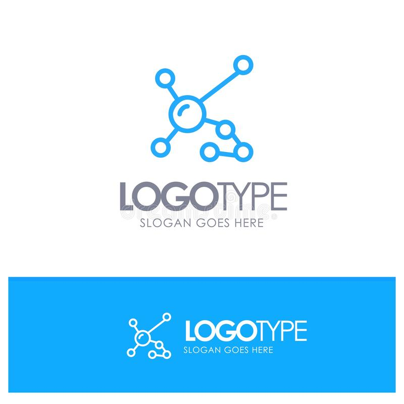 Atom biokemi, biologi, Dna, genetisk blå översikt Logo Place för Tagline royaltyfri illustrationer