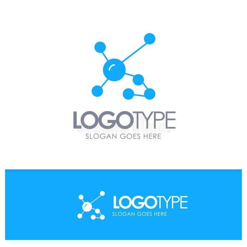 Atom biokemi, biologi, Dna, genetisk blå fast logo med stället för tagline royaltyfri illustrationer