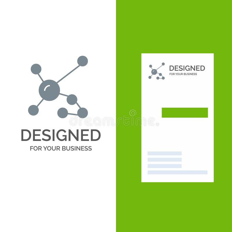 Atom, biokemi, biologi, Dna, genetiska Grey Logo Design och mall för affärskort stock illustrationer