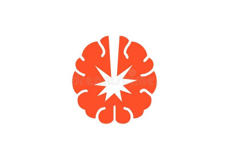 Atom- Brain Logo Design Illustration royaltyfri illustrationer