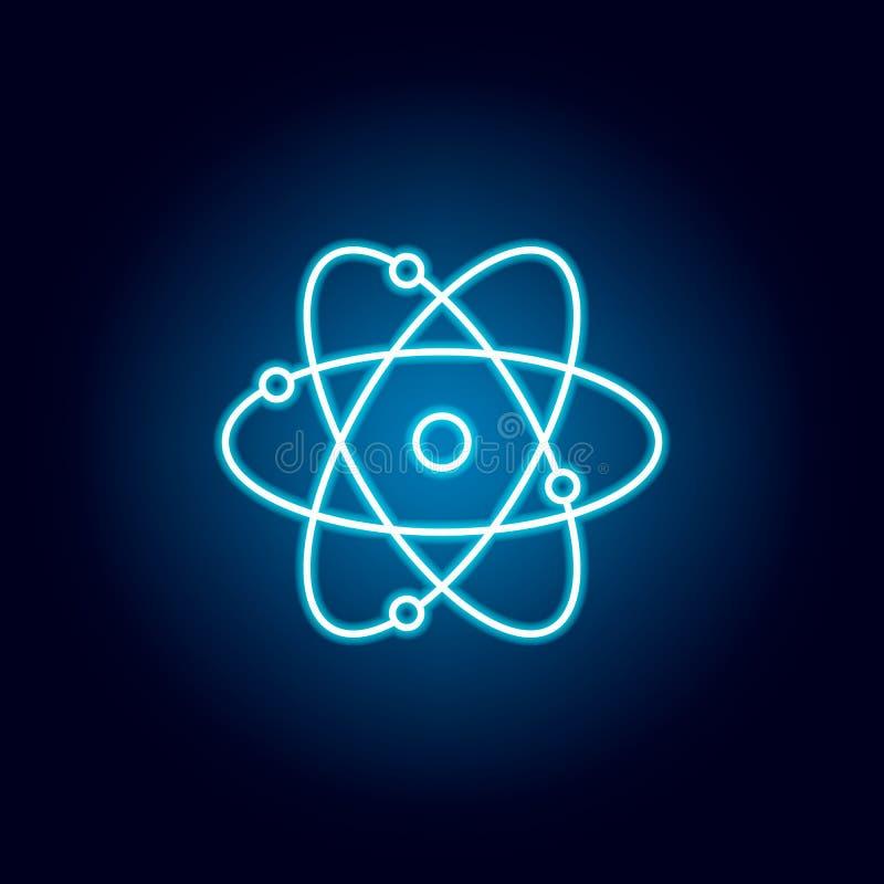 atom, chemia konturu ikona w neonowym stylu elementy edukacji ilustracji linii ikona znaki, symbole mogą używać dla sieci, logo ilustracja wektor