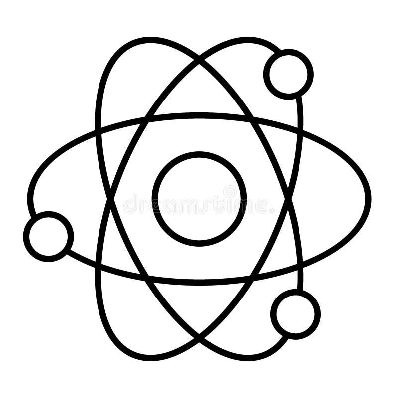 Atom cienka kreskowa ikona Jądrowej władzy wektorowa ilustracja odizolowywająca na bielu Molekuła konturu stylu projekt, projektu ilustracji