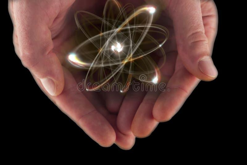 Atom cząsteczki ręki zdjęcia royalty free