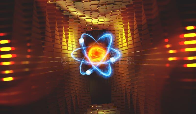 Atom 3d ilustracja reaktor nuklearny Bbasis wszech?wiat ilustracja wektor