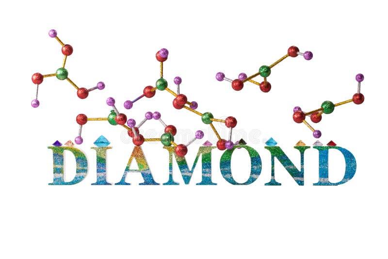 Atom of diamond above glitter diamond letter royalty free stock photography