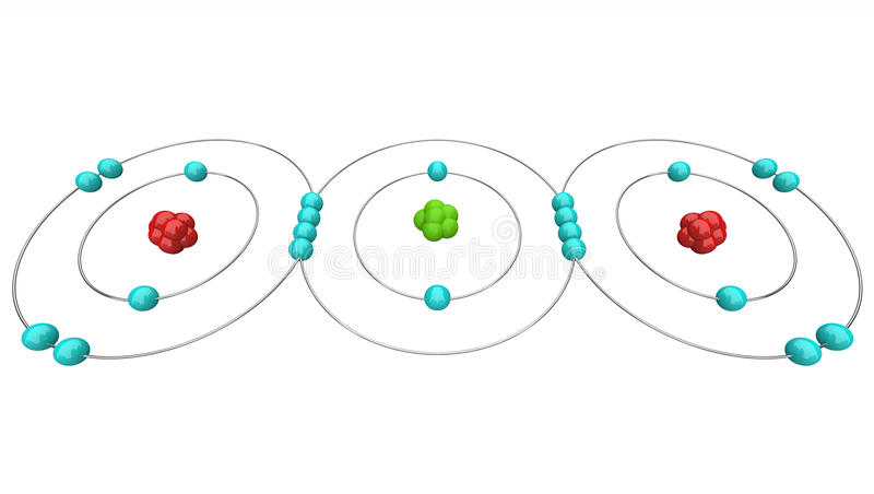 atom- dioxid för kolco2diagram vektor illustrationer