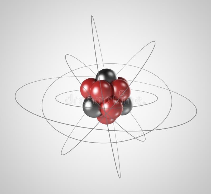 Atom. Elementarpartikel 3D. Kärn- fysik royaltyfri illustrationer
