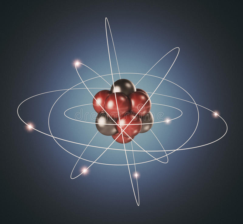 Atom. Elementary particle. 3D Background vector illustration