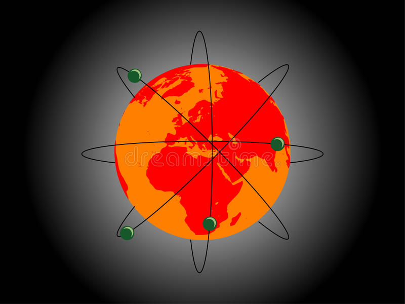Atom-Erde lizenzfreie abbildung