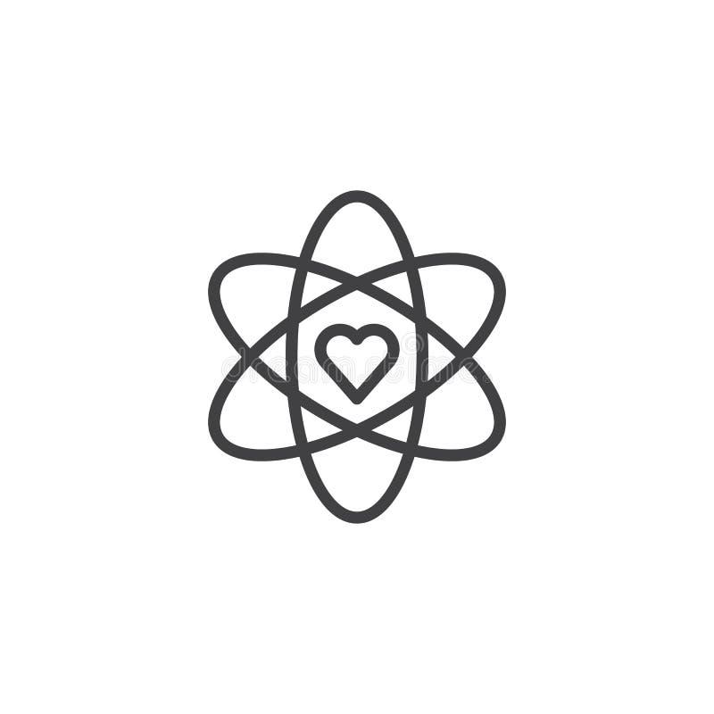 Atom i kierowa kształta konturu ikona ilustracji