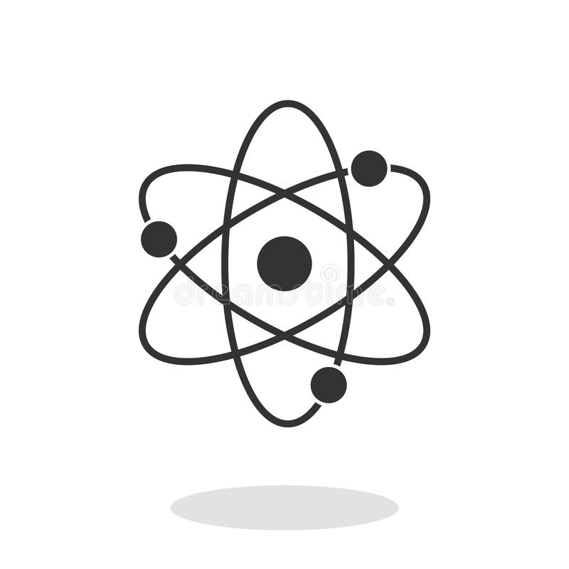 Atom Icon en estilo plano de moda aislado en el fondo blanco Símbolo para su diseño del sitio web, logotipo, app stock de ilustración