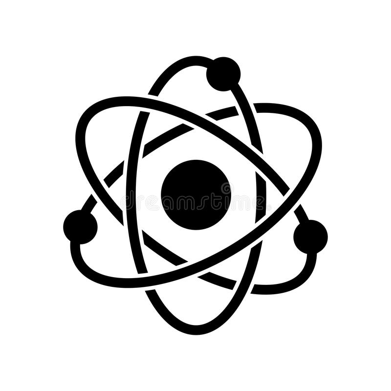 Atom Icon - vector iconisch ontwerp stock illustratie