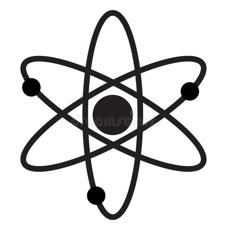 Atom icon for your web site design, logo, app, UI. flat style. atom sign on white background. molecule symbol. nuclear power sign. Atom icon for your web site stock illustration