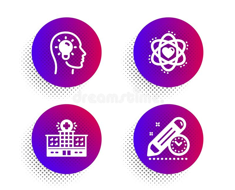 Atom, Idea head and Hospital building icons set. Project deadline sign. Electron, Lightbulb, Medical help. Vector. Atom, Idea head and Hospital building icons vector illustration