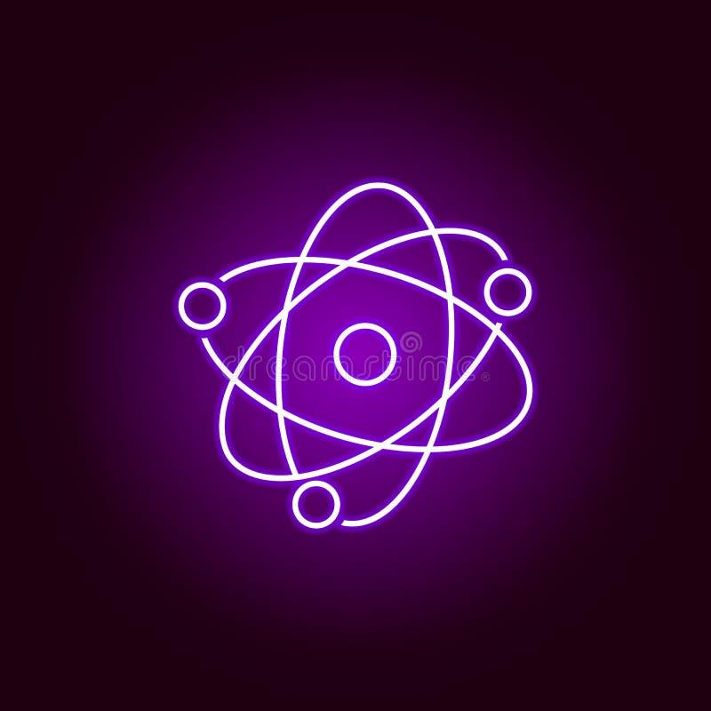 Atom ikona Elementy nauki ilustracja w fio?kowej neonowej stylowej ikonie Znaki i symbole mog? u?ywa? dla sieci, logo, mobilny ap royalty ilustracja