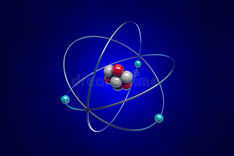 Atom. The image of the atom for school textbooks. Illustration created in Cinema 4D and Photoshop vector illustration