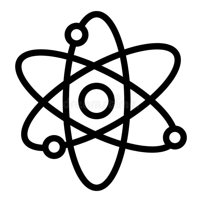 Atom kreskowa ikona Jądrowej władzy wektorowa ilustracja odizolowywająca na bielu Molekuła konturu stylu projekt, projektujący dl ilustracji