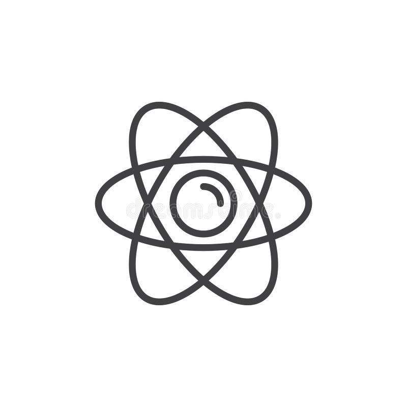 Atom kreskowa ikona, konturu wektoru znak, liniowy stylowy piktogram odizolowywający na bielu royalty ilustracja