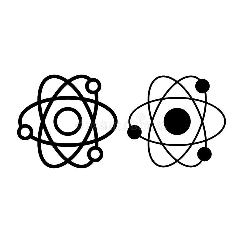 Atom linia i glif ikona Jądrowej władzy wektorowa ilustracja odizolowywająca na bielu Molekuła konturu stylu projekt, projektując royalty ilustracja