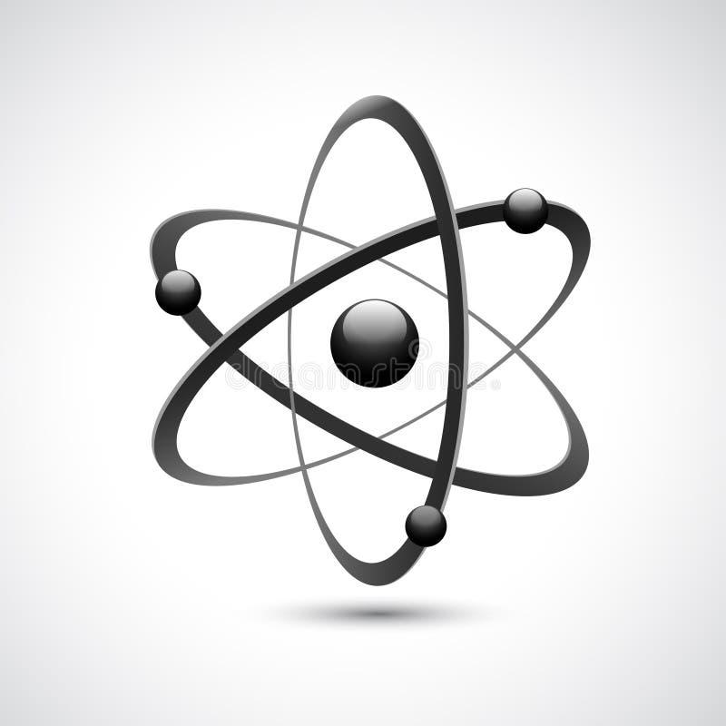 Atom logo symbol 3d. Atom 3d abstract physics science model symbol vector illustration stock illustration