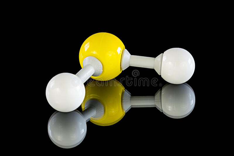 Atom model of Hydrogen sulfide stock images