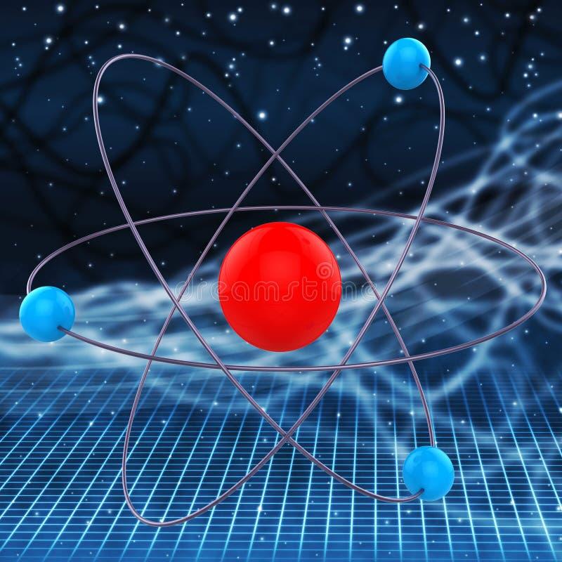 Atom Molecule Indicates Experiments Research en Chemisch product royalty-vrije illustratie