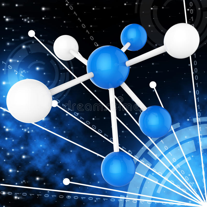 Atom Molecule Indicates Research Chemical en Chemie vector illustratie