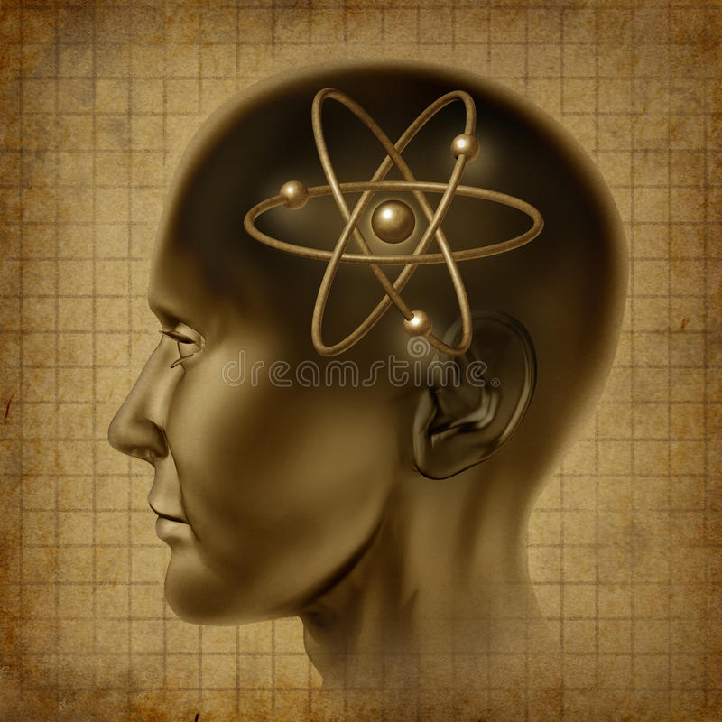 Atom Molecule Symbol Brain  Old Stock Photo