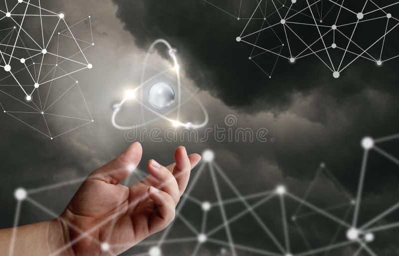 Atom molekuła w ręce royalty ilustracja