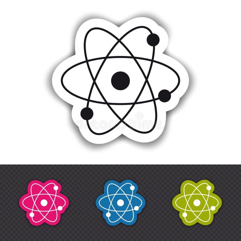 Atom molekuły ikona Odizolowywająca Na Białym I Przejrzystym tle - Kolorowa Wektorowa ilustracja - ilustracja wektor