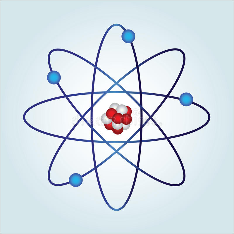 Atom with necleus and protons vector illustration