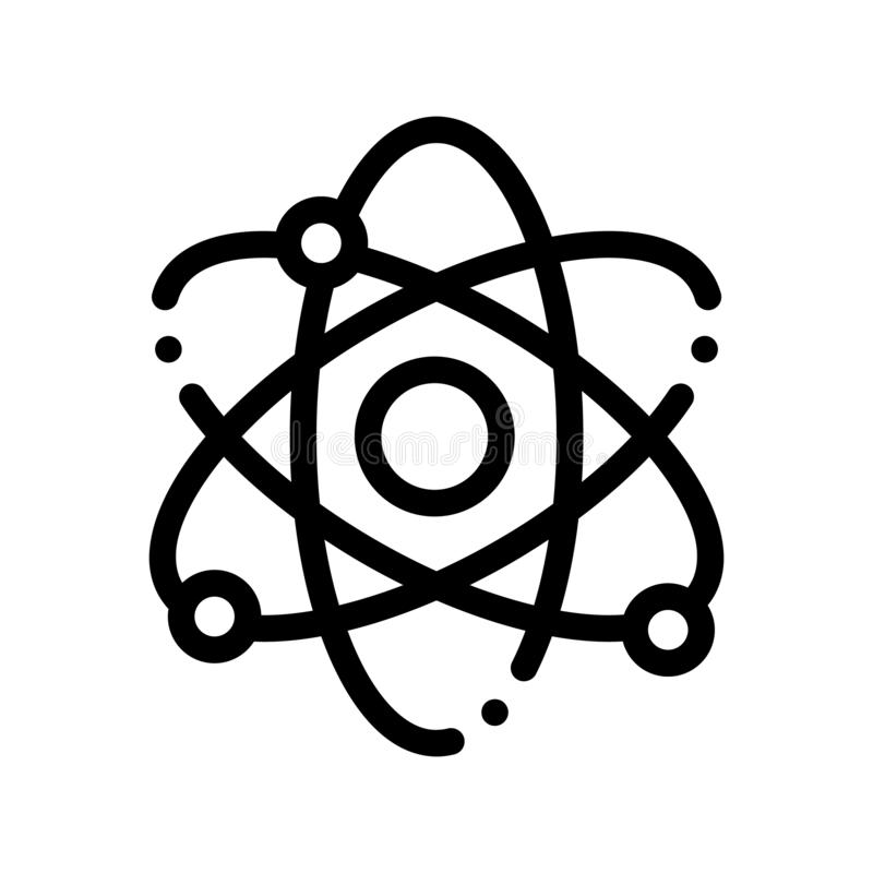 Atom Nucleus And Electron Vector Thin Line Icon stock illustration
