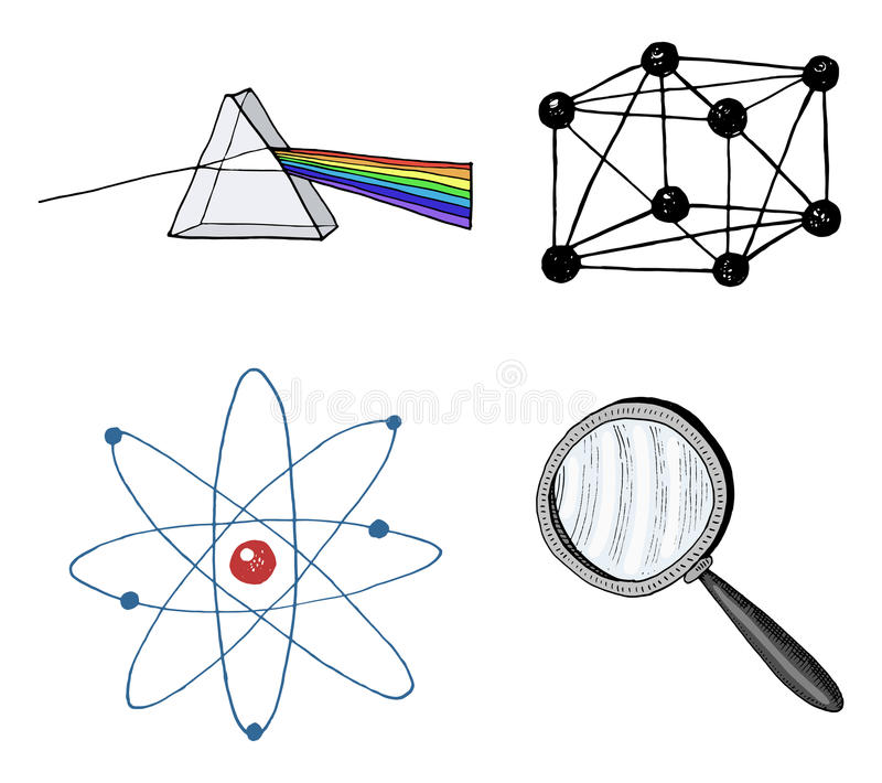 Atom och prisma, förstoringsapparat och crystal galler den inristade handen som dras i gammalt, skissar och tappningsymboler berä royaltyfri illustrationer