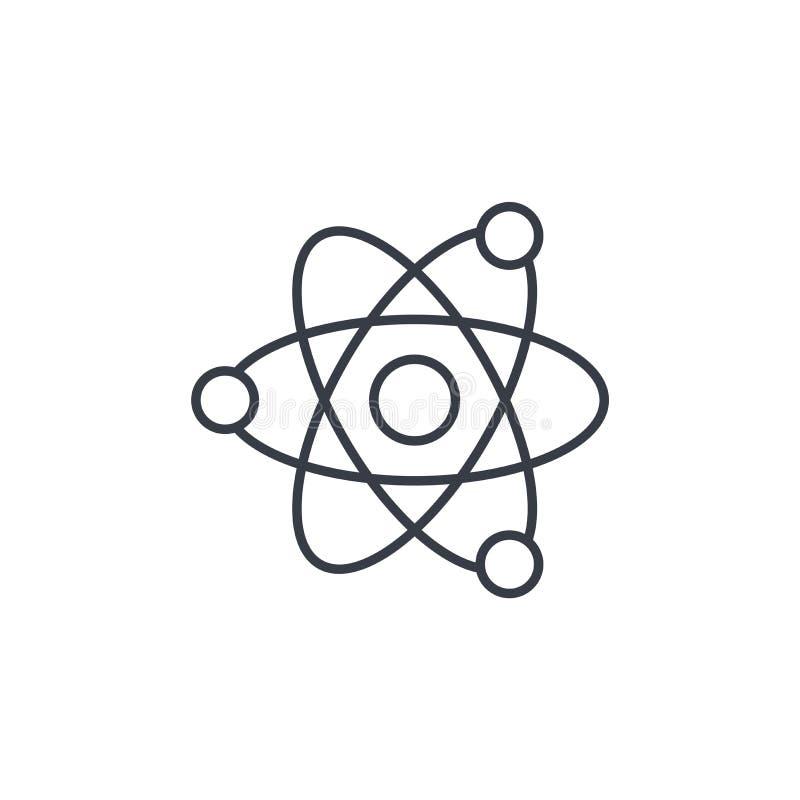 Atom, Physic symbolu cienka kreskowa ikona Liniowy wektorowy symbol royalty ilustracja