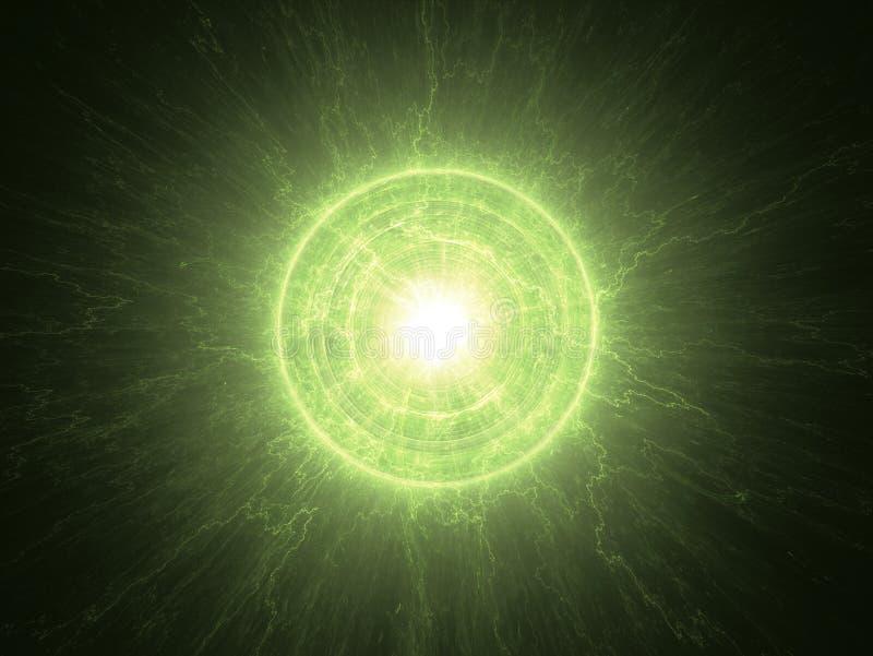 Atom- radioaktiv kärn- kärna stock illustrationer