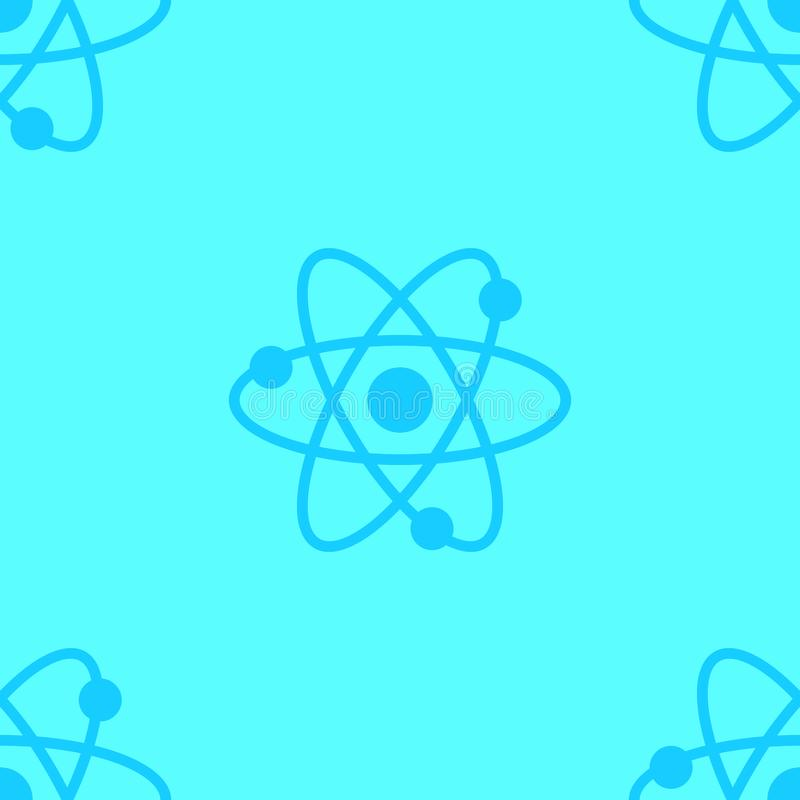 Atom science seamless pattern blue colored. illustration stock photo